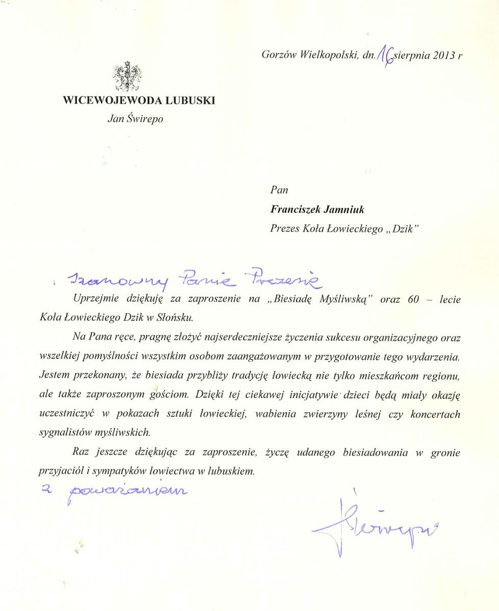 Listy I Dyplomy Witryna Koła łowieckiego Dzik W Słońsku