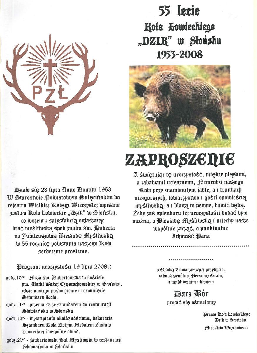 Zaproszenie 55 Lat Witryna Koła łowieckiego Dzik W Słońsku